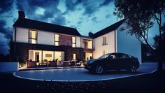 PLease take time to check out this replacement dwelling. This bespoke L-shaped dwelling design is a traditional rural farmstead in a secluded rural setting. Modern Farmhouse Design, Modern Farmhouse Exterior, Modern House Design, Interior Design Northern Ireland, Crazy Houses, Nice Houses, House Designs Ireland, L Shaped House, House Outside Design