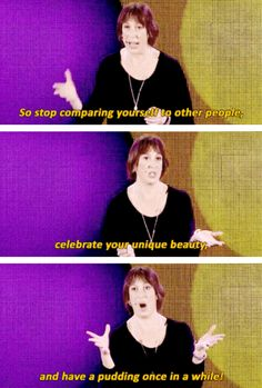 And, of course, to have pudding once in a while. 18 Times Miranda Hart Spoke The Absolute Truth Miranda Hart Quotes, Miranda Hart Funny, Miranda Tv Show, Funny Memes, Hilarious, British Comedy, Funny Photos, Comedians, Humor