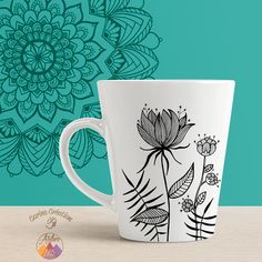 Mug Latte - blanc - dessin Fleur - 10€