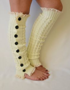 Leg warmers ivory  slouchy open button down lace leg by bstyle, $28.00