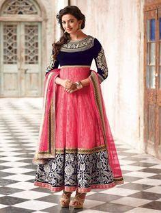 Light Pink Net Pre-Stitched Salwar Suit