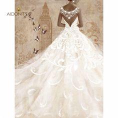 Print με strass 60x80. Από την Alphab2b.gr Dress Painting, Lace Wedding, Wedding Dresses, Products, Fashion, Bride Dresses, Moda, Bridal Gowns, Fashion Styles