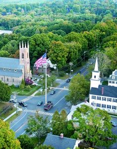 Great photo of famous flagpole. Newtown, CT I love watching  tourist try and figure out how to get around it. Of course I've hit more than once after being out too late