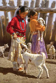 Lunch time, painting by Alfredo Rodriguez Native American Children, Native American Art, American Indians, American Symbols, American History, Native American Paintings, Indian Paintings, Native Indian, Native Art