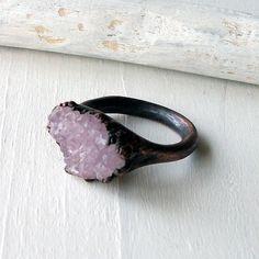 Pale Lavender Amethyst & Copper Artisan Ring.