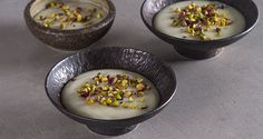 Muhallebi by Greek chef Akis Petretzikis. A delicious, aromatic cream made with milk, vanilla, sugar and rose water that is served with chopped pistachio nuts. Greek Sweets, Gluten Free Baking, Greek Recipes, Pistachio, Acai Bowl, Cravings, Sweet Tooth, Oatmeal, Kitchens