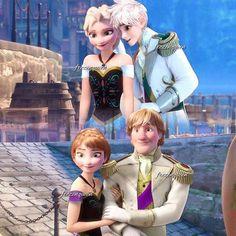 Elsa-Jack Frost et Anna-Kristoff Jack Frost Und Elsa, Jack And Elsa, Cute Disney, Disney Art, Disney Movies, Princesa Disney Frozen, Disney Frozen Elsa, Disney Princess Outfits, Disney Princess Pictures