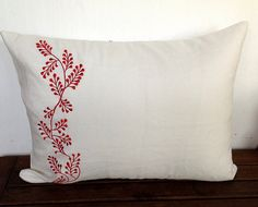 Flower Embroidery White Lumbar Pillow Cover  12 x by Snazzyliving, $23.00