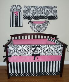 Sofia Baby Girl Crib Bedding 5pc Set, Pink , White And Black, Damask