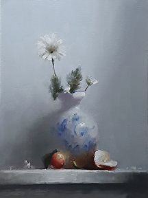 Vase and Apples by Neil Carroll Oil ~ 16 x 12
