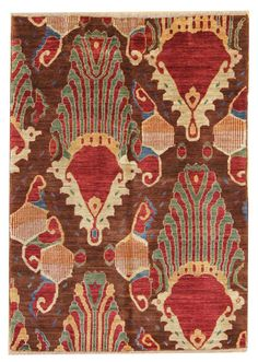 Suzani & Ikat Designs Gallery: Ikat Design Rug, Hand-knotted in Pakistan; size: 3 feet 1 inch(es) x 4 feet 3 inch(es)