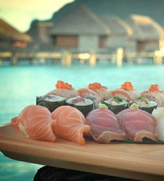Sushi and a Bora Bora sunset. Does it get any better?