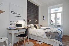 Modern and Stylish Scandinavian Bedroom Decor Inspirations for Teenage Scandinavian Bedroom Decor, Scandinavian Apartment, Scandinavian Interior Design, Scandinavian Style, Nordic Bedroom, Swedish Style, Small Apartment Design, Small Apartments, Small Spaces