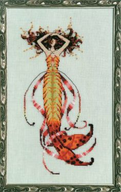 """Siren's Song Mermaid"" is the title of this cross stitch pattern from Nora Corbett (Mirabilia) that is stitched with DMC threads, Kreinik Br..."