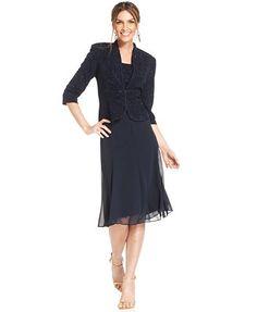Alex Evenings Petite Jacquard Sparkle Dress and Jacket