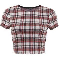 Miss Selfridge Tartan Co Ord Top (60 DKK) ❤ liked on Polyvore featuring tops, crop tops, shirts, crop, clearance, red, tartan crop top, red shirt, red plaid shirt and tartan shirts
