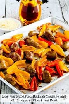 Low-Carb Roasted Italian Sausage and Sweet Mini Peppers Sheet Pan Meal is an easy and delicious dinner for everyone who loves Italian Sausage and peppers! Roasted Italian Sausage, Italian Sausage Recipes, Turkey Sausage, Salad Recipes Low Carb, Paleo Recipes, Pork Recipes, Dinner Recipes, Skinny Recipes, Quick Recipes
