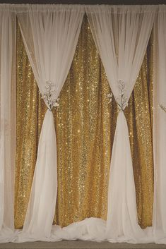 Gold sequin curtain becomes soft and romantic when you create this beautiful two layer backdrop