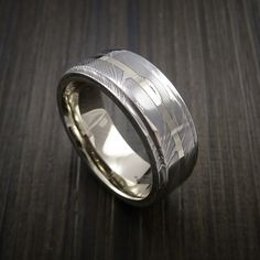 Damascus Steel 14K White Gold Ring with Gold Sleeve Wedding Band Custom Made by Revolution Jewelry