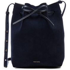 Mansur Gavriel Bucket Bag featuring polyvore, women's fashion, bags, handbags, shoulder bags, bolsa, drawstring bucket bag, blue purse, blue shoulder bag, handbag purse and handbags shoulder bags