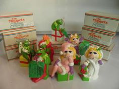 LOT OF MISS PIGGY & KERMIT THE MUPPETS VINTAGE CHRISTMAS ORNAMENTS WITH BOX in Muppets   eBay