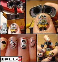 Girls Movie Night - WALL-E Manicure Design