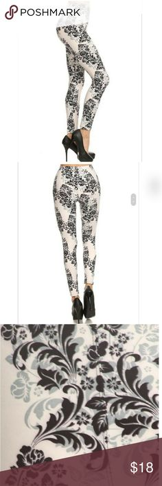 Floral print leggings Floral print, soft fabric full length leggings in a slim fitting style with a banded high waist Fabric: 92%polyester 8%spandex  Fit sizes 2-14 comfortably Pants Leggings