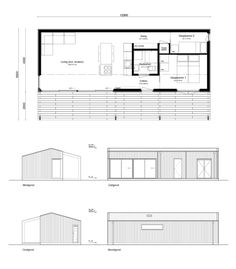 Duurzaam Chalet - Plattegrond Modern Tiny House, Tiny House Design, Little House Plans, Tyni House, Espace Design, Architectural Floor Plans, Small House Floor Plans, Bar Design, Narrow House