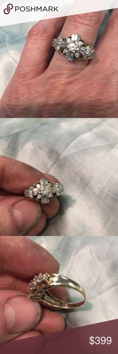 28 diamond - I1-2 - cluster - 10k ring It's a great design - around 10 diamonds are a bit roughed up with some scuffs and chips - and the diamonds are 'promotional' quality but still very sparkly and charming - the center diamond is 4mm Jewelry Rings