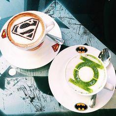 Superman mocha and Green Lantern matcha latte