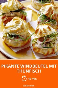 Pikante Windbeutel mit Thunfisch Spicy cream puffs with tuna - smarter - time: 45 min. Profiteroles Recipe, Eclairs, Tuna Bake, Canned Salmon Recipes, Party Buffet, Snacks Für Party, Finger Foods, Spicy, Food And Drink