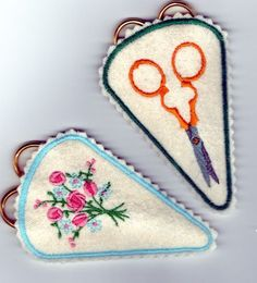 "2 Free download embroidery design of embroidery scissors + a floral design with color changes chart. Stitch on felt. 3.7""wx2.4""h"