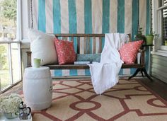 DIY Painted Drop Cloth Privacy Screen