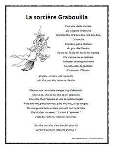 Chanson - La sorcière Grabouilla à imprimer en .pdf
