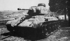 An ex-Soviet T-34 medium tank is shown here in German service. During the opening months of Operation Barbarossa, so many T-34 tanks were captured by German forces that entire battalions could be created using solely captured tanks (Beutepanzer). The T-34 was used in German service under the designation PzKpfw 747(r).
