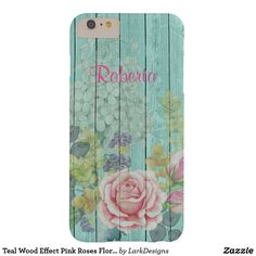 Teal Wood Effect Pink Roses Floral Bouquet Name Barely There iPhone 6 Plus Case