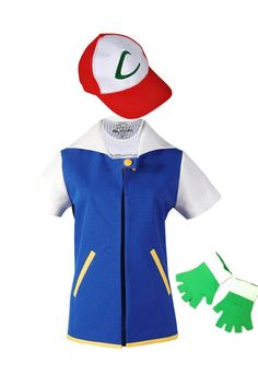 High Quality Blue Pokemon Ash Ketchum Trainer Cosplay Costume Jacket Gloves Hat Ash Ketchum Costume In Stock