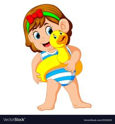 Little girl with duck flotation ring vector image on VectorStock Summer Crafts, Crafts For Kids, Ring Vector, Funny Paintings, School Clipart, Orlando, School Decorations, Pretty Pictures, Cute Kids