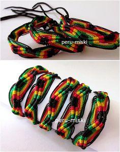 Rasta friendship bracelets, zigzag pattern