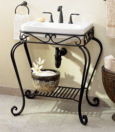 Thomas Creations Orleans Wrought Iron Console With Richmond Petite Sink, White Primitive Bathrooms, Rustic Bathrooms, Iron Wine Rack, Wine Racks, Rustic Renovations, Outdoor Sinks, Wrought Iron Decor, Bronze Bathroom, Iron Furniture