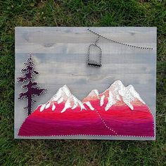Last Chair. Mountain Scence With Chairlift String Art