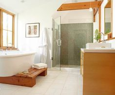 Natural light floods this airy tree-house inspired bath. Tour the rest of it here: http://www.bhg.com/bathroom/remodeling/makeover/nature-inspired-bathrooms/?socsrc=bhgpin071012#page=6