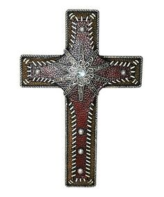 Look what I found on #zulily! Red Faux Leather Resin Cross #zulilyfinds
