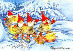 Marjaliisa Pitkäranta, Lahja kaikille - Huuto.net Scandi Christmas, Christmas Art, Illustrations And Posters, Elves, Paper Dolls, Witches, Illustrators, Scandinavian, Rooster