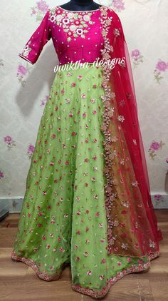 Organza long frock with heavy thread work,knot work and sequence work # cutwork net dupatta # designer long frocks # designs by vivikthadesigns Long Frocks For Kids, Frocks For Girls, Long Gown Dress, Frock Dress, Indian Gowns Dresses, Indian Fashion Dresses, Churidar, Anarkali, Party Wear Long Gowns
