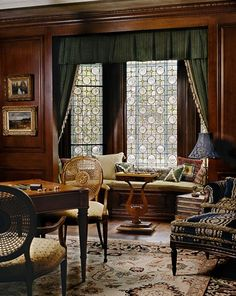 Love the window seat and game table perfect pieces for our library