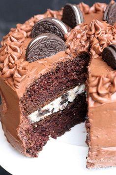 Chocolate Cake with Oreo Cream Filling