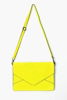 Electrify Envelope Clutch in Yellow