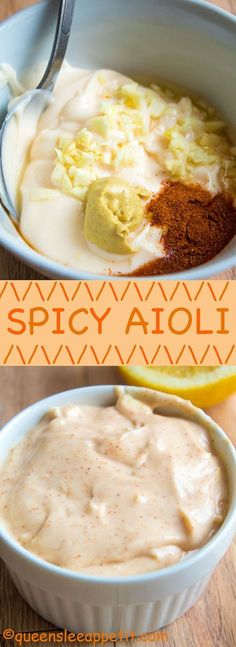 This Spicy Aioli is super quick and easy to make! This creamy and spicy sauce is the perfect spread for sandwiches and hamburgers, and it makes a great dip for fries and onion rings! Aoli Sauce Recipe, Garlic Aoli Recipe, Aioli Sauce, Sauce Recipes, Cooking Recipes, Cooking Tips, Seafood Recipes, Healthy Recipes, Spicy Aioli
