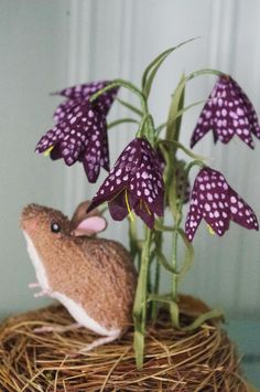 Wildlife textile art available to buy by Nicole Lupton sculpture harvest mice